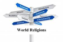Religions of the World Crossroads Sign